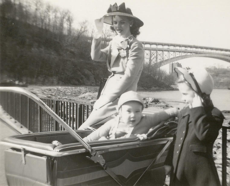Teddy, Janet, Aunt Ruth Davids, Inwood Park, Tribourgh Bridge, New York. 1947.