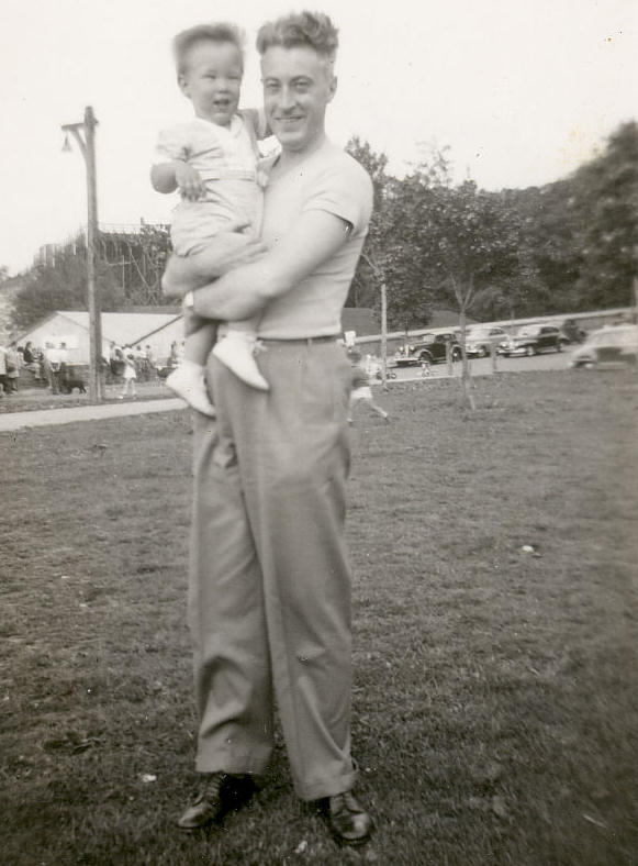Teddy and Dad, Inwood Hill Park, Columbia Stadium, New York. 1947