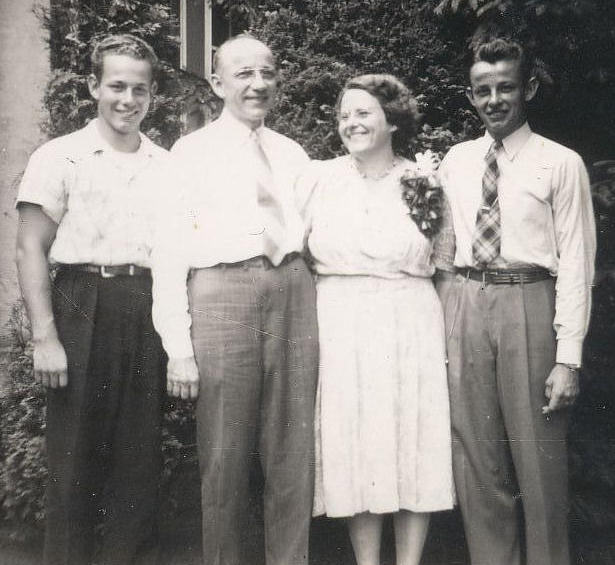 George Wolf, Harry Wolf, Aunt Laurel, Cousin John Wolf, 616 Cooper Avenue, Oradell, New Jersey. 1947.