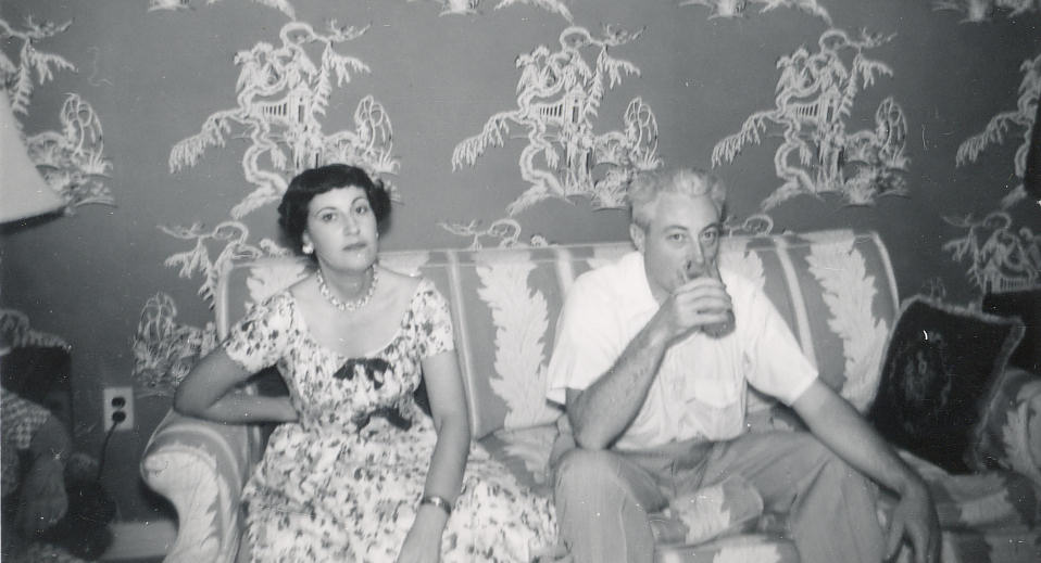 Aunt Dea Wolf and Dad, Sofa, 1954.