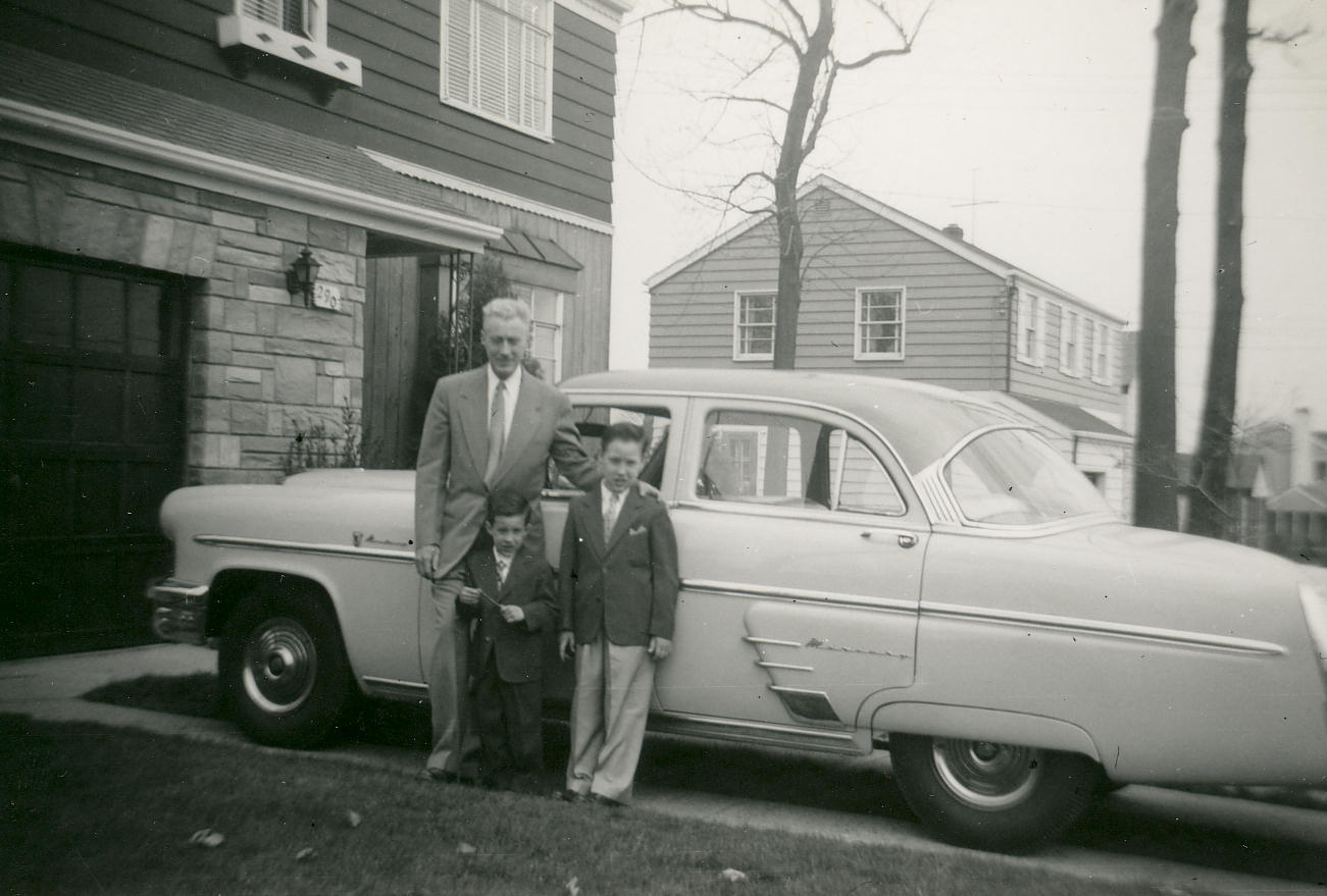 Teddy Davids, Ricky Davids, Dad, 290 Concord Drive, River Edge, New Jersey, Easter Sunday, 1954