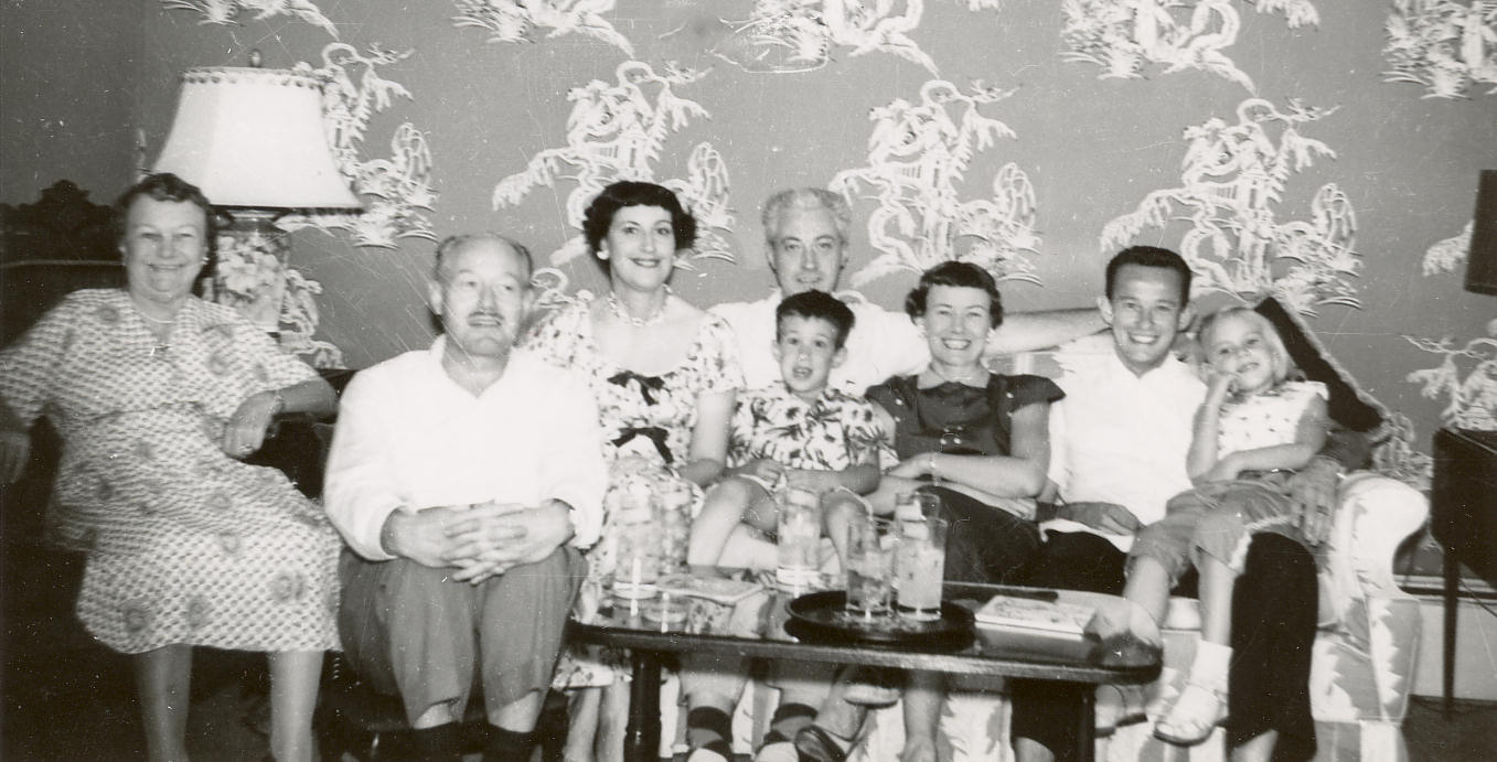 Nannie's 71st Birthday, Uncle Bill Wolf, Aunt Dea, Dad, Me, Mom, Harry Wolf, Jr., and Judy Davids. 1954.