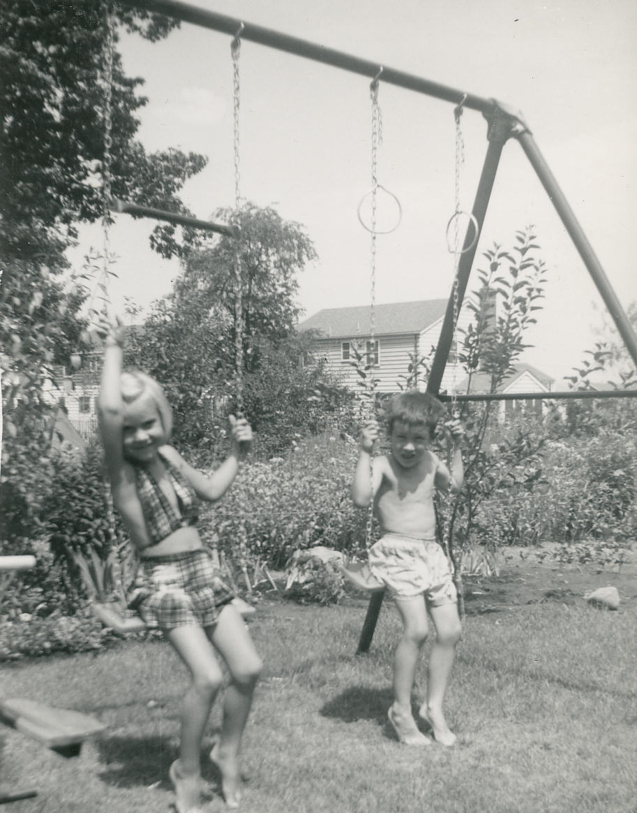 Ricky Davids and Judy Davids, Backyard, 290 Concord Drive, River Edge, New Jersey. 1954.