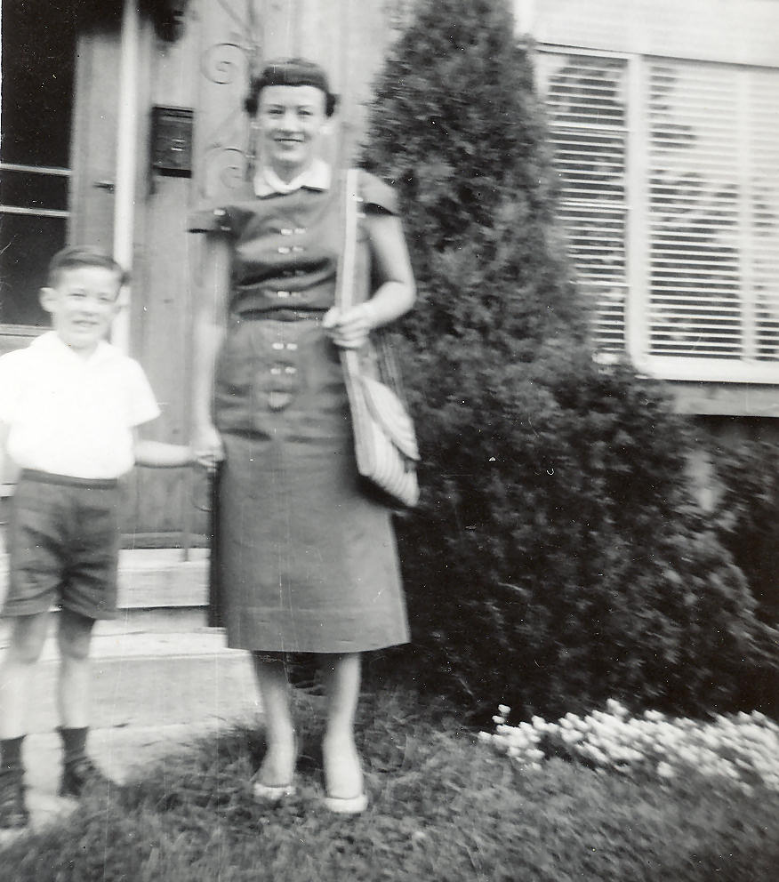 Ricky and Mom, Front Stoop, 290 Concord Drive, River Edge, New Jersey. 1954.