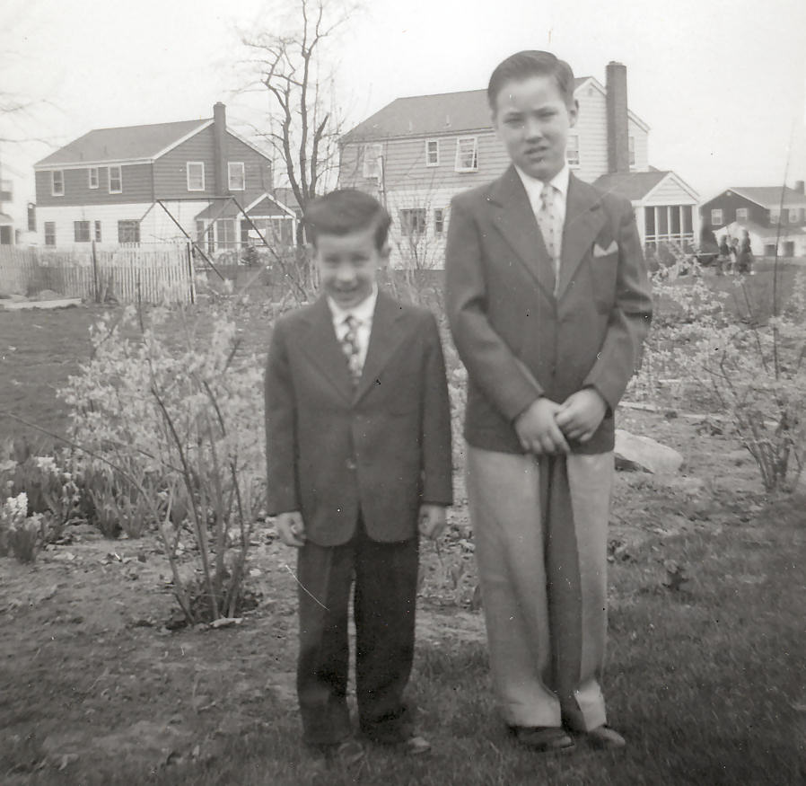 Easter Sunday, Ricky and Teddy, Backyard, 290 Concord Drive, River Edge, New Jersey. 1954.